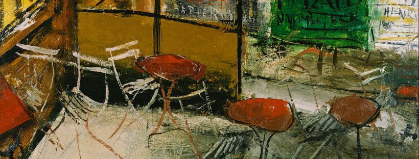 A painting of a cozy café