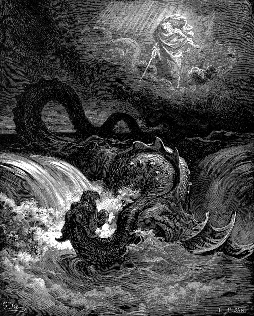 A painting of the description of leviathan by Gustave Doré, used in this context as illustration of possible monster in the waters of our soul